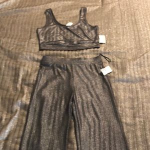 Glitter 2 Piece wide leg pant outfit